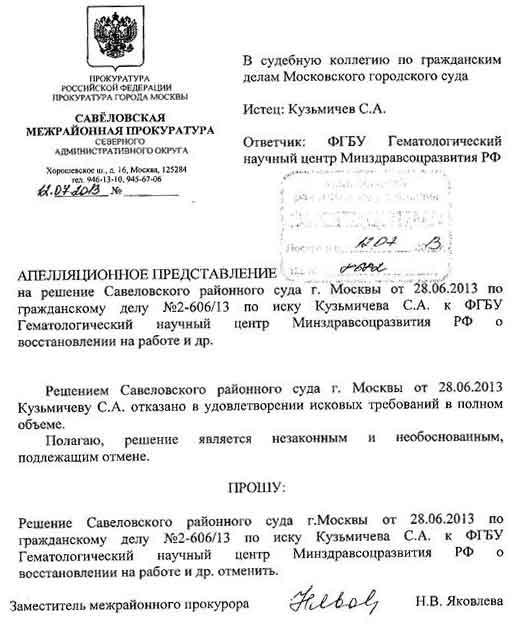 Условия подачи прокурором апелляционного представления